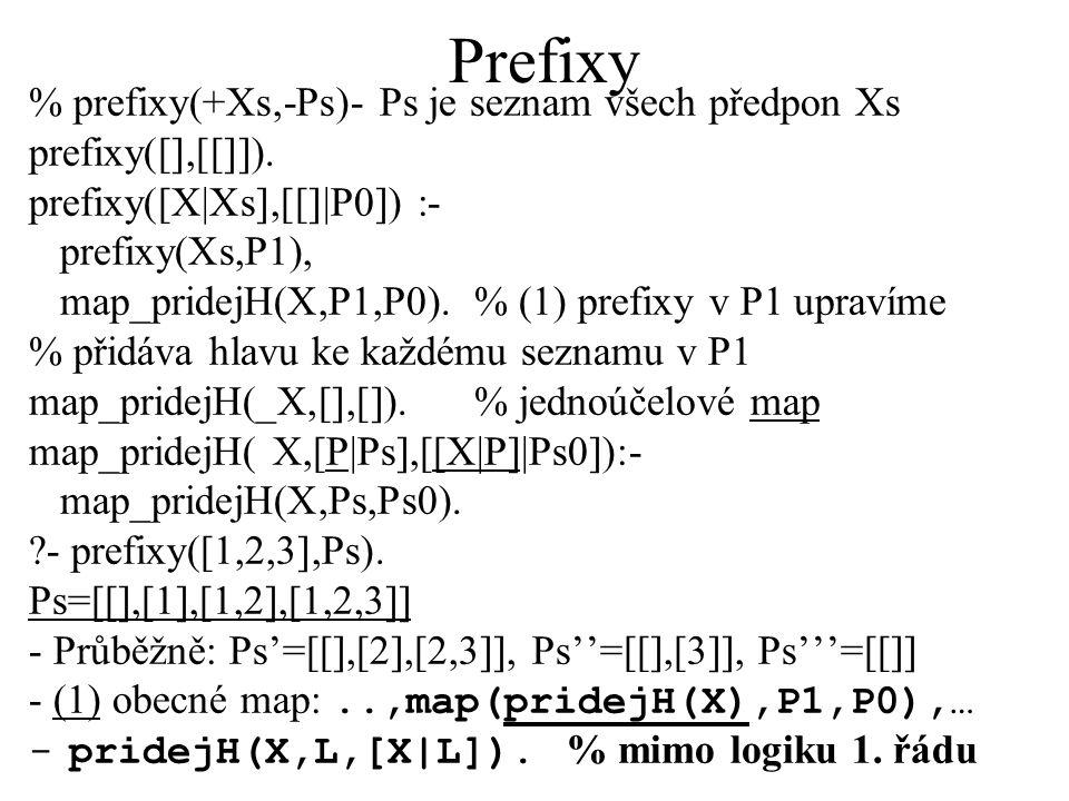 Prefixy % prefixy(+Xs,-Ps)- Ps je seznam všech předpon Xs prefixy([],[[]]).