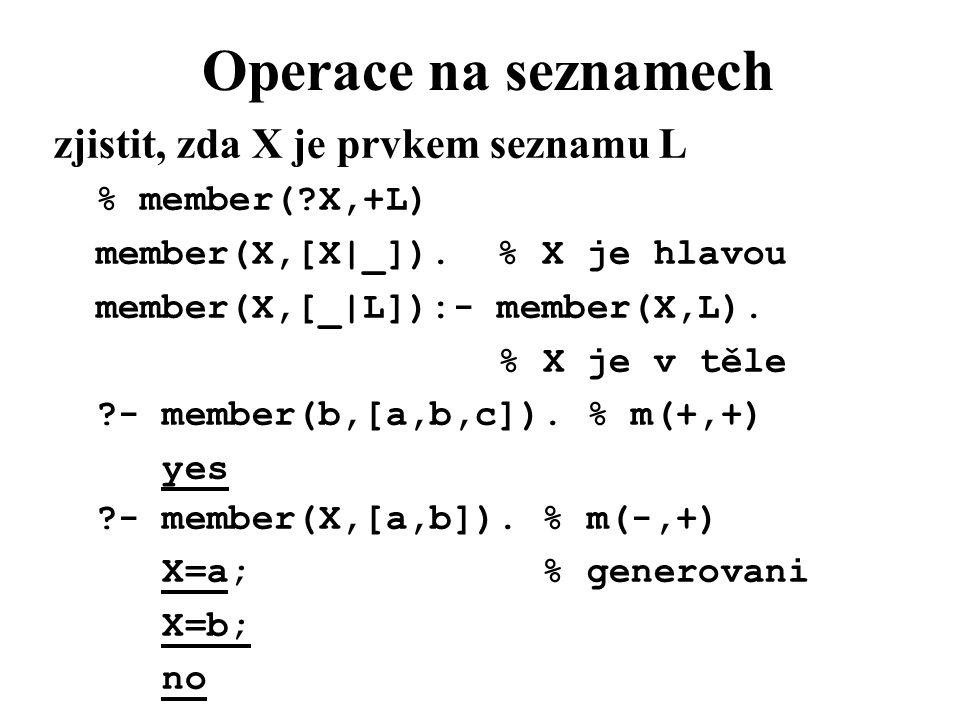 Operace na seznamech zjistit, zda X je prvkem seznamu L % member(?X,+L) member(X,[X|_]).