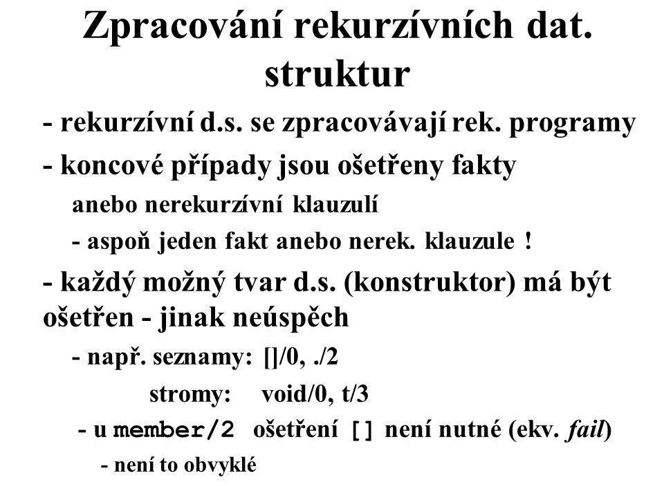 Zpracování rekurzívních dat. struktur - rekurzívní d.s.