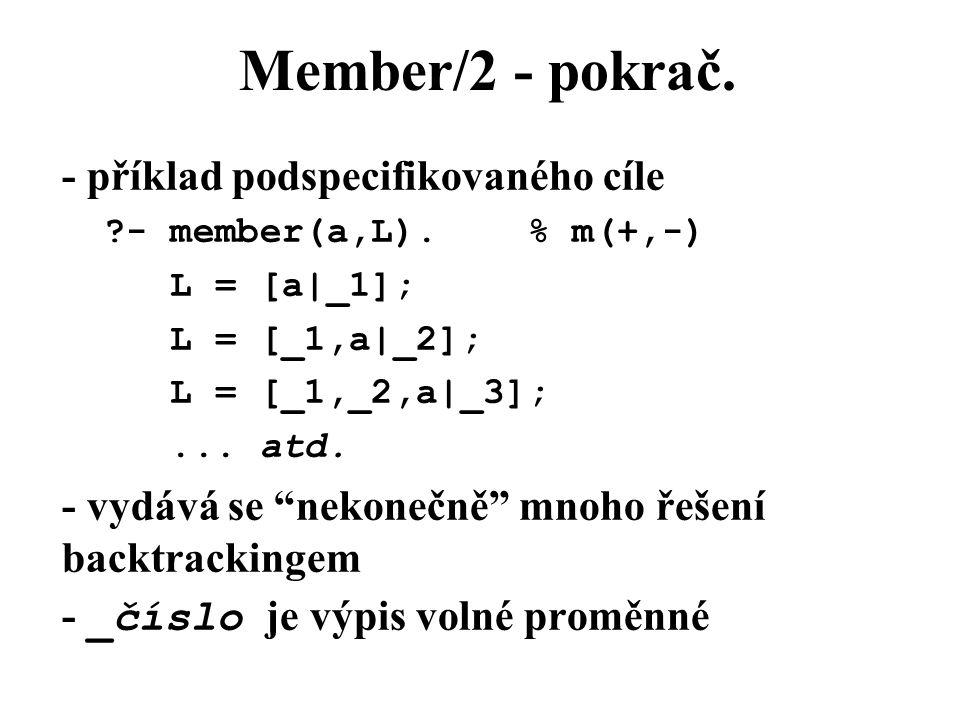 Member/2 - pokrač.- příklad podspecifikovaného cíle ?- member(a,L).