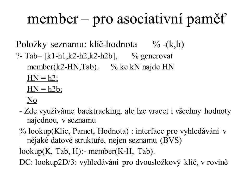 member – pro asociativní paměť Položky seznamu: klíč-hodnota % -(k,h) ?- Tab= [k1-h1,k2-h2,k2-h2b], % generovat member(k2-HN,Tab).% ke kN najde HN HN = h2; HN = h2b; No - Zde využíváme backtracking, ale lze vracet i všechny hodnoty najednou, v seznamu % lookup(Klic, Pamet, Hodnota) : interface pro vyhledávání v nějaké datové struktuře, nejen seznamu (BVS) lookup(K, Tab, H):- member(K-H, Tab).