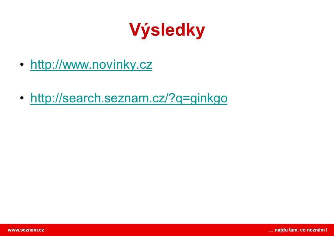 www.seznam.cz … najdu tam, co neznám ! Výsledky http://www.novinky.cz http://search.seznam.cz/?q=ginkgo