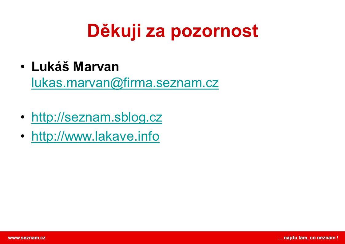 www.seznam.cz … najdu tam, co neznám ! Děkuji za pozornost Lukáš Marvan lukas.marvan@firma.seznam.cz lukas.marvan@firma.seznam.cz http://seznam.sblog.