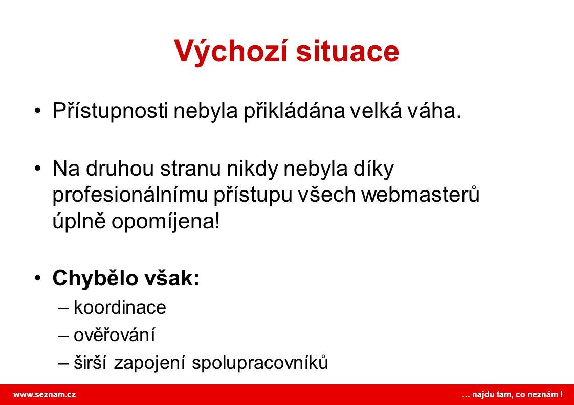 www.seznam.cz … najdu tam, co neznám ! Výchozí situace Přístupnosti nebyla přikládána velká váha. Na druhou stranu nikdy nebyla díky profesionálnímu p