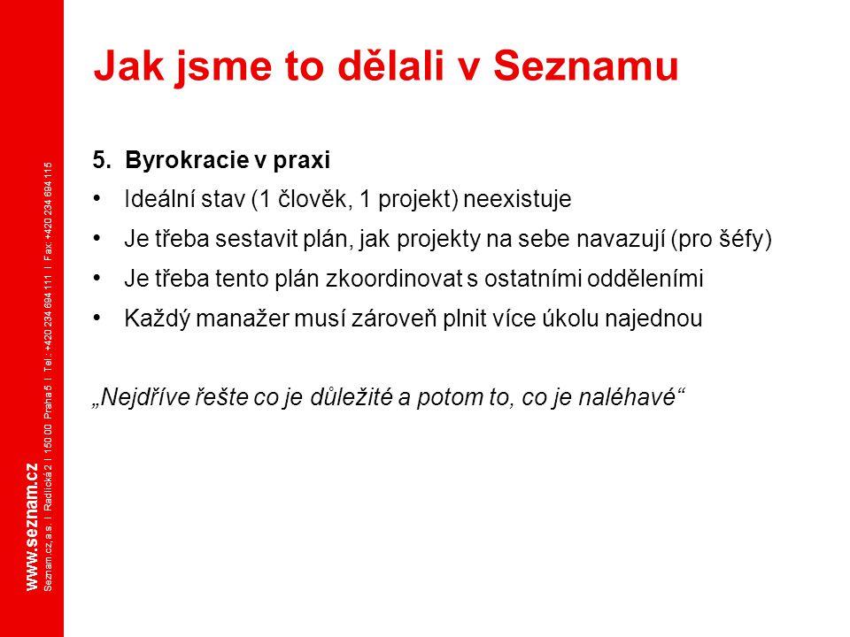 www.seznam.cz Seznam.cz, a.s. I Radlická 2 I 150 00 Praha 5 I Tel.: +420 234 694 111 I Fax: +420 234 694 115 5. Byrokracie v praxi Ideální stav (1 člo