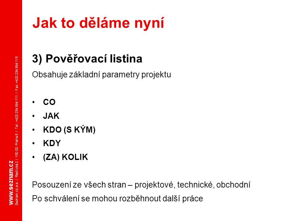 www.seznam.cz Seznam.cz, a.s. I Radlická 2 I 150 00 Praha 5 I Tel.: +420 234 694 111 I Fax: +420 234 694 115 3) Pověřovací listina Obsahuje základní p