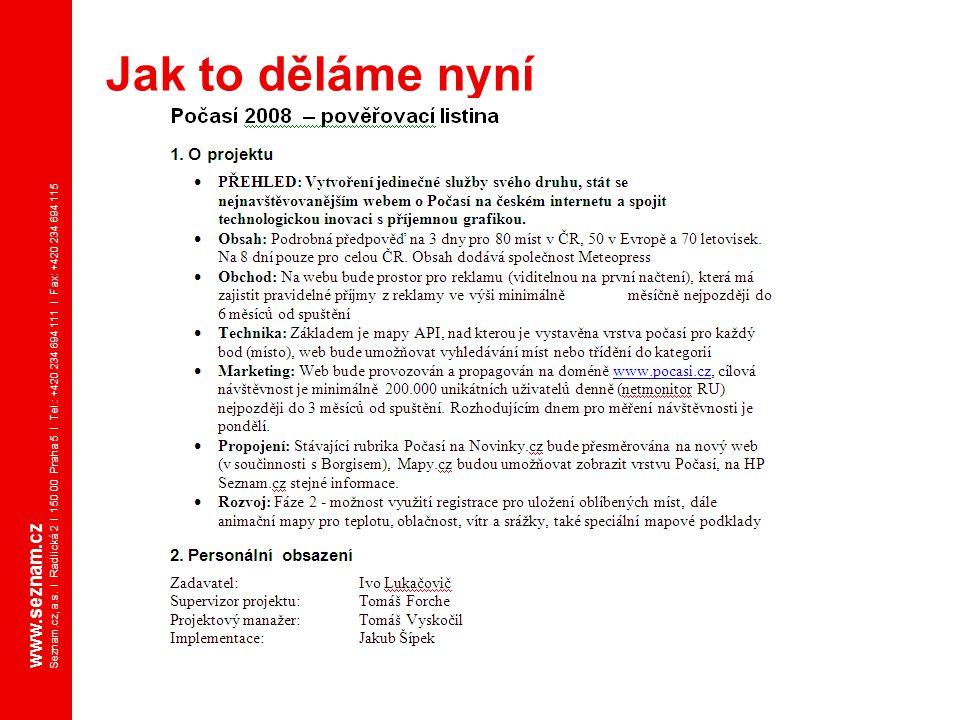 www.seznam.cz Seznam.cz, a.s. I Radlická 2 I 150 00 Praha 5 I Tel.: +420 234 694 111 I Fax: +420 234 694 115 Jak to děláme nyní