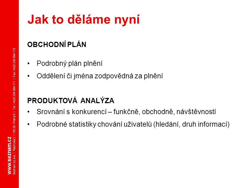 www.seznam.cz Seznam.cz, a.s. I Radlická 2 I 150 00 Praha 5 I Tel.: +420 234 694 111 I Fax: +420 234 694 115 OBCHODNÍ PLÁN Podrobný plán plnění Odděle