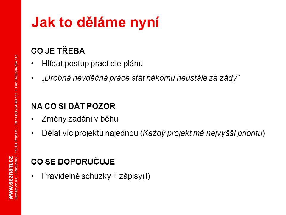 www.seznam.cz Seznam.cz, a.s. I Radlická 2 I 150 00 Praha 5 I Tel.: +420 234 694 111 I Fax: +420 234 694 115 CO JE TŘEBA Hlídat postup prací dle plánu