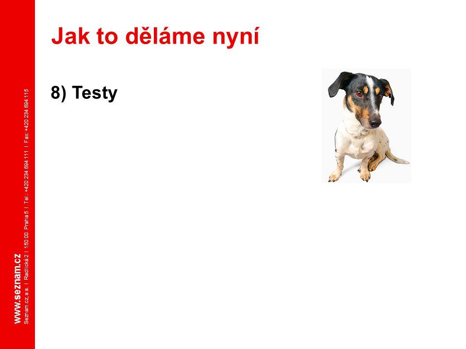 www.seznam.cz Seznam.cz, a.s. I Radlická 2 I 150 00 Praha 5 I Tel.: +420 234 694 111 I Fax: +420 234 694 115 8) Testy Jak to děláme nyní