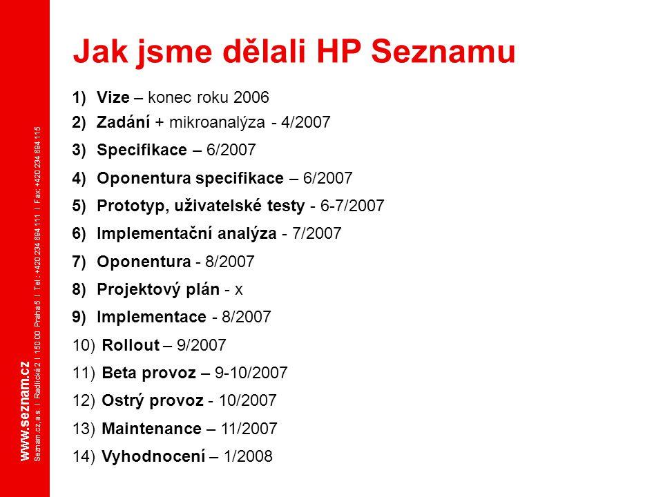www.seznam.cz Seznam.cz, a.s. I Radlická 2 I 150 00 Praha 5 I Tel.: +420 234 694 111 I Fax: +420 234 694 115 1)Vize – konec roku 2006 2)Zadání + mikro