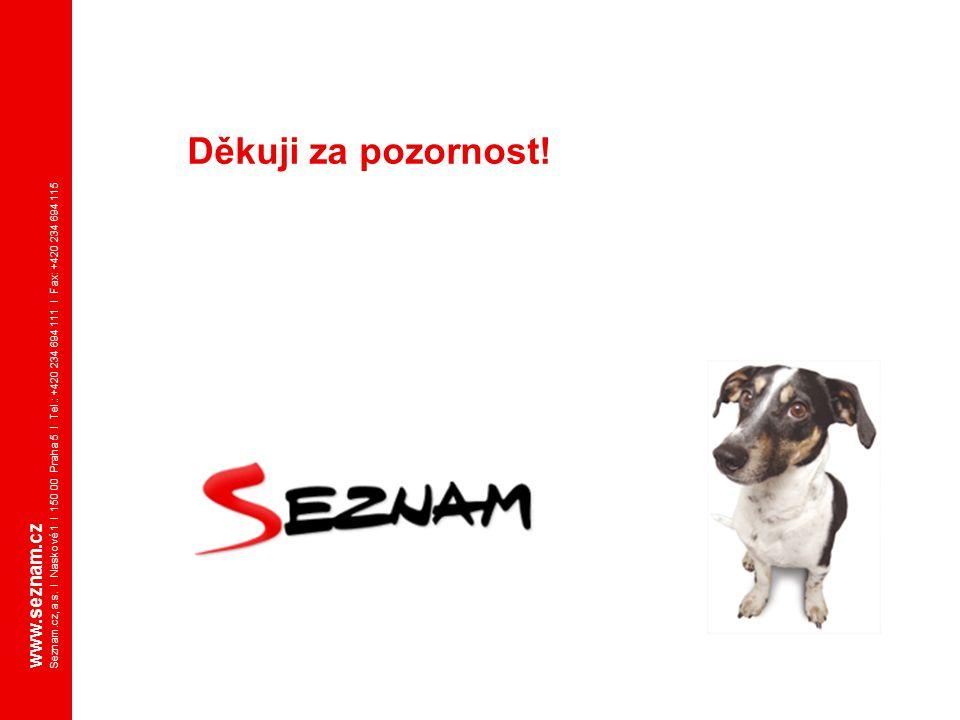 Děkuji za pozornost! www.seznam.cz Seznam.cz, a.s. I Naskové 1 I 150 00 Praha 5 I Tel.: +420 234 694 111 I Fax: +420 234 694 115