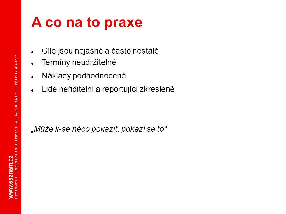 www.seznam.cz Seznam.cz, a.s. I Radlická 2 I 150 00 Praha 5 I Tel.: +420 234 694 111 I Fax: +420 234 694 115 Cíle jsou nejasné a často nestálé Termíny