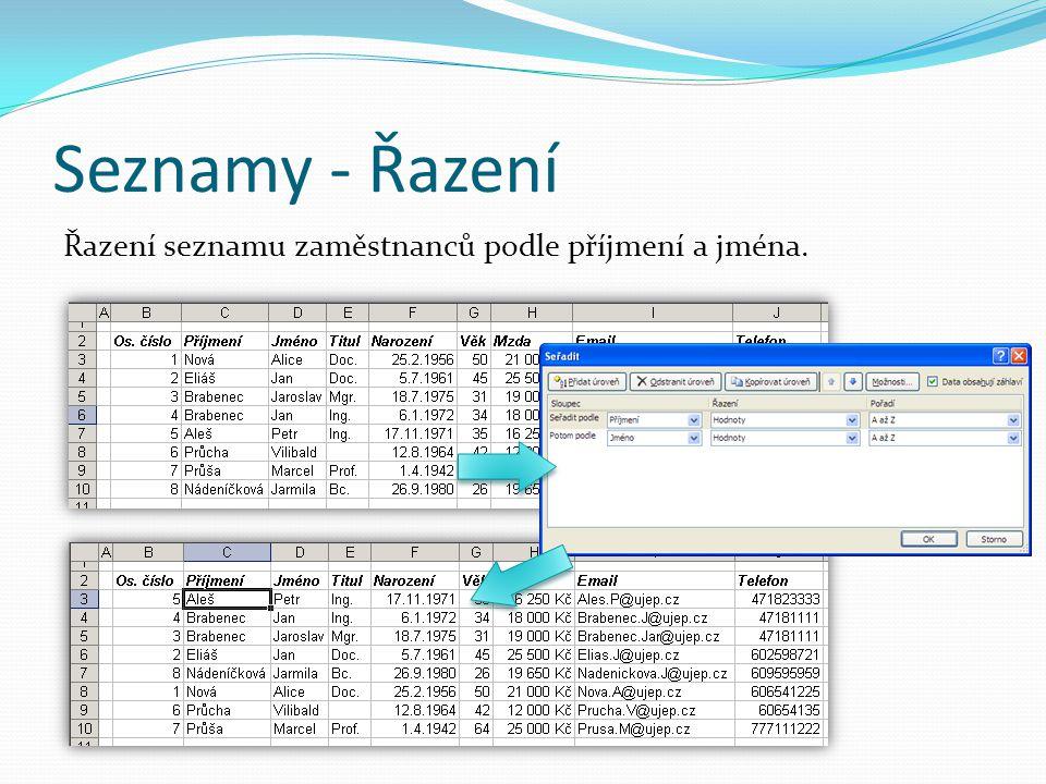 Seznamy - Řazení Řazení seznamu zaměstnanců podle příjmení a jména.