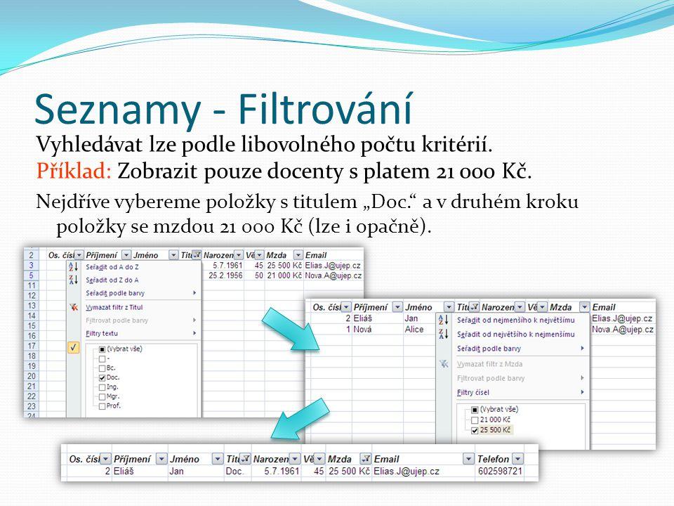 Seznamy - Filtrování Vyhledávat lze podle libovolného počtu kritérií. Příklad: Zobrazit pouze docenty s platem 21 000 Kč. Nejdříve vybereme položky s