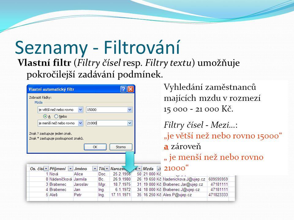 Seznamy - Filtrování Vlastní filtr (Filtry čísel resp. Filtry textu) umožňuje pokročilejší zadávání podmínek. Vyhledání zaměstnanců majících mzdu v ro