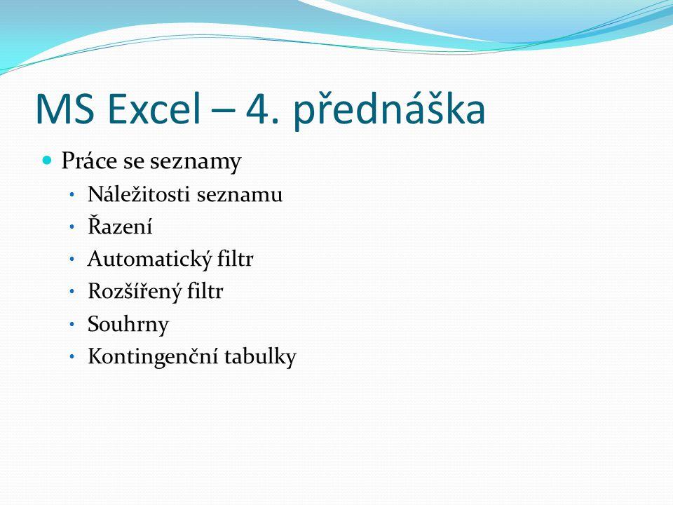 MS Excel – 4. přednáška Práce se seznamy Náležitosti seznamu Řazení Automatický filtr Rozšířený filtr Souhrny Kontingenční tabulky