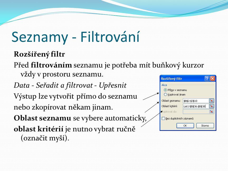Seznamy - Filtrování Rozšířený filtr Před filtrováním seznamu je potřeba mít buňkový kurzor vždy v prostoru seznamu. Data - Seřadit a filtrovat - Upře