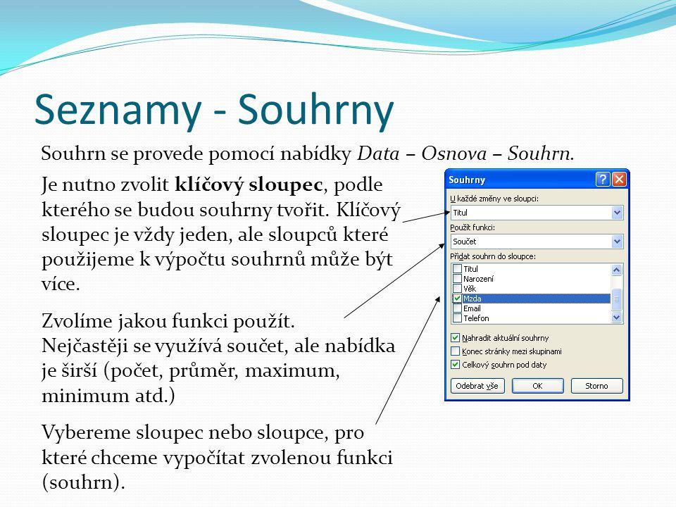 Seznamy - Souhrny Souhrn se provede pomocí nabídky Data – Osnova – Souhrn.