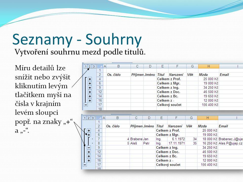 Seznamy - Souhrny Vytvoření souhrnu mezd podle titulů. Míru detailů lze snížit nebo zvýšit kliknutím levým tlačítkem myši na čísla v krajním levém slo