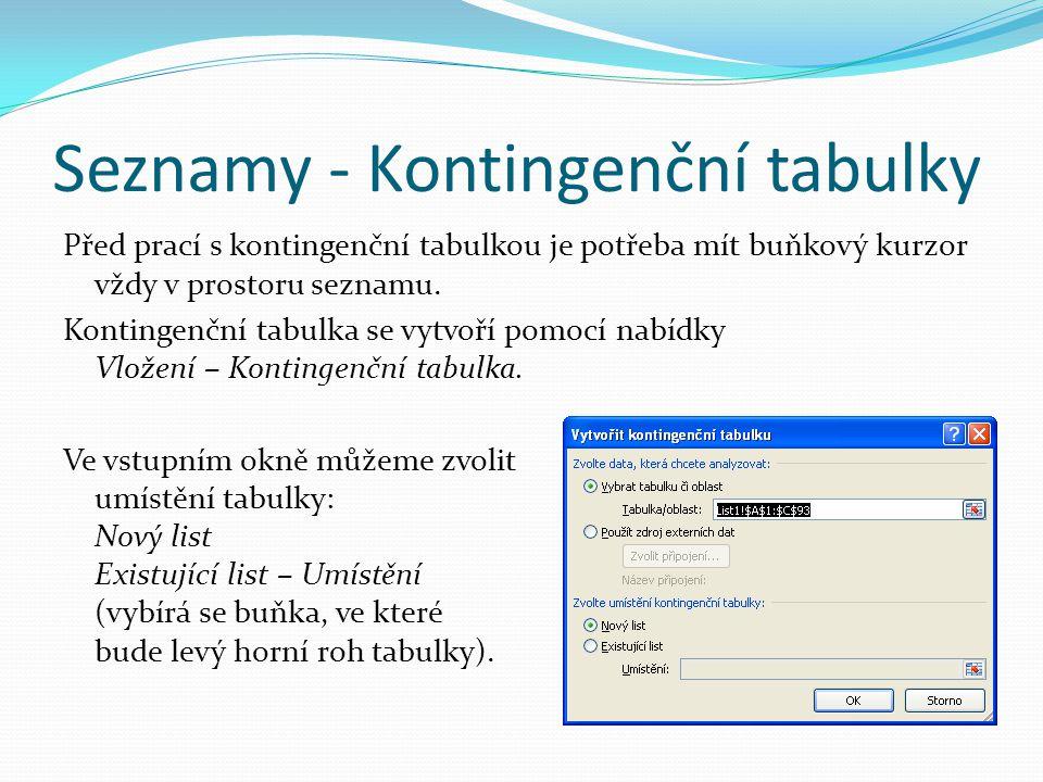 Seznamy - Kontingenční tabulky Před prací s kontingenční tabulkou je potřeba mít buňkový kurzor vždy v prostoru seznamu. Kontingenční tabulka se vytvo