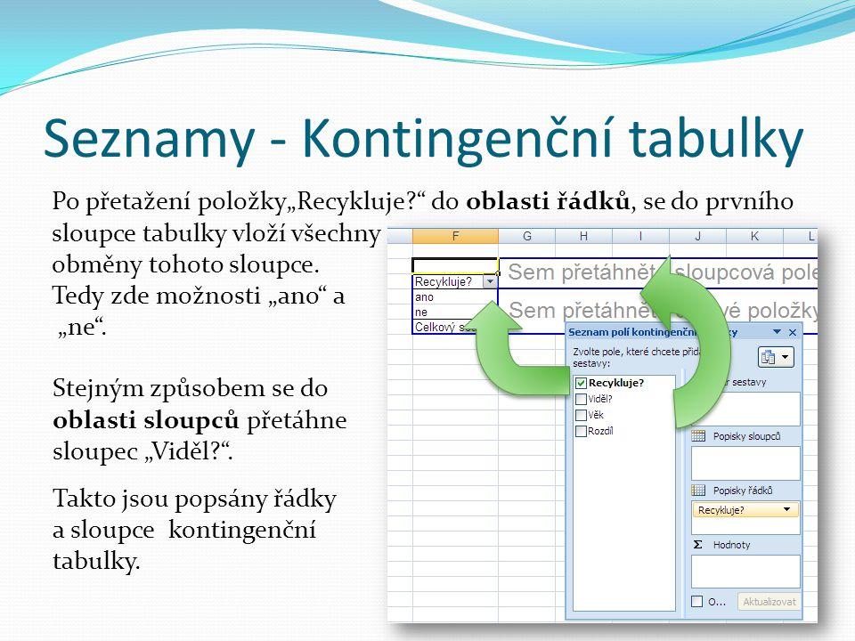 """Seznamy - Kontingenční tabulky Po přetažení položky""""Recykluje?"""" do oblasti řádků, se do prvního sloupce tabulky vloží všechny obměny tohoto sloupce. T"""
