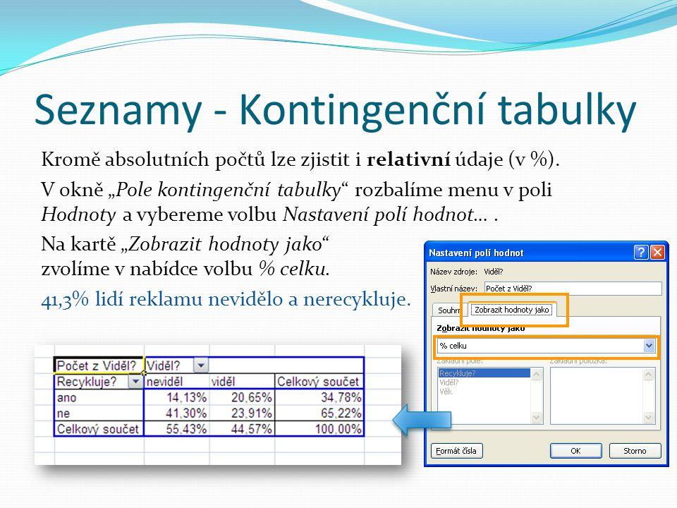 """Seznamy - Kontingenční tabulky Kromě absolutních počtů lze zjistit i relativní údaje (v %). V okně """"Pole kontingenční tabulky"""" rozbalíme menu v poli H"""