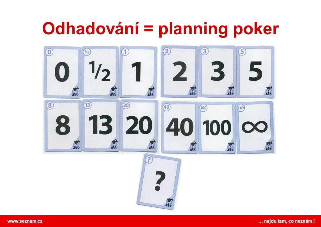 www.seznam.cz … najdu tam, co neznám ! Odhadování = planning poker