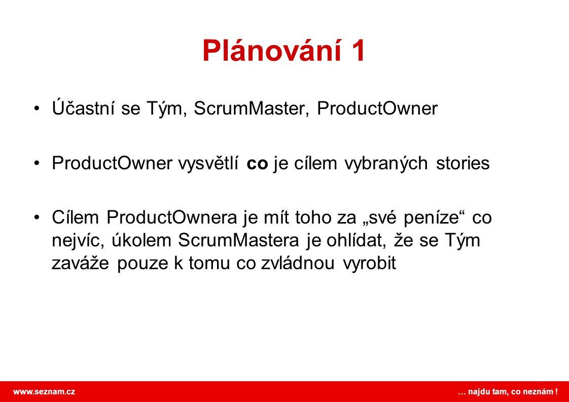 www.seznam.cz … najdu tam, co neznám ! Plánování 1 Účastní se Tým, ScrumMaster, ProductOwner ProductOwner vysvětlí co je cílem vybraných stories Cílem
