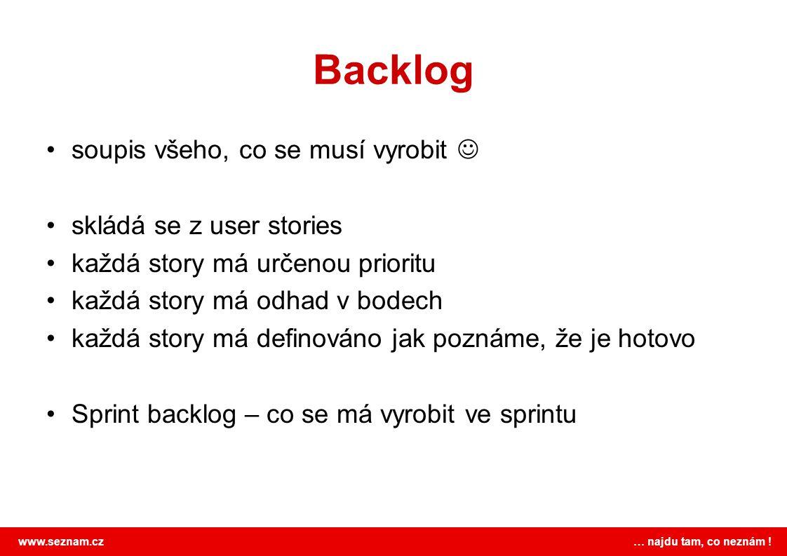 www.seznam.cz … najdu tam, co neznám ! Backlog soupis všeho, co se musí vyrobit skládá se z user stories každá story má určenou prioritu každá story m