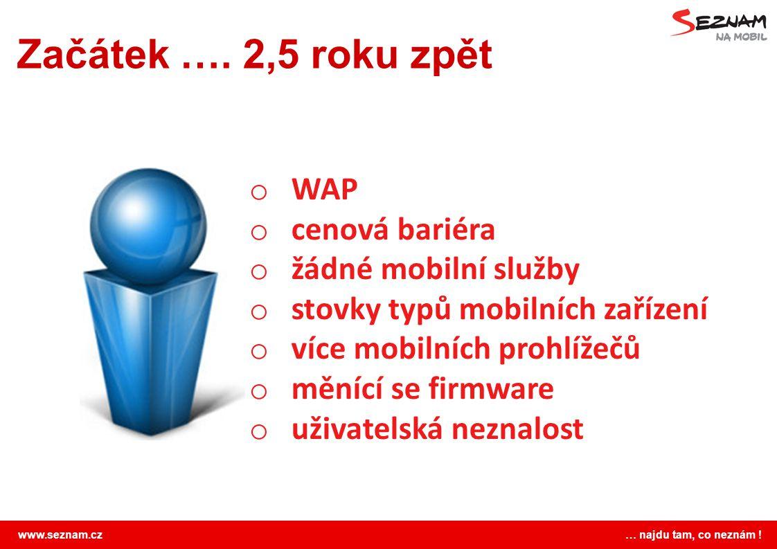 www.seznam.cz … najdu tam, co neznám ! Začátek …. 2,5 roku zpět o WAP o cenová bariéra o žádné mobilní služby o stovky typů mobilních zařízení o více