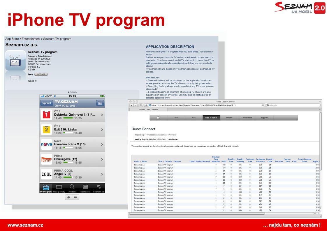 www.seznam.cz … najdu tam, co neznám ! iPhone TV program