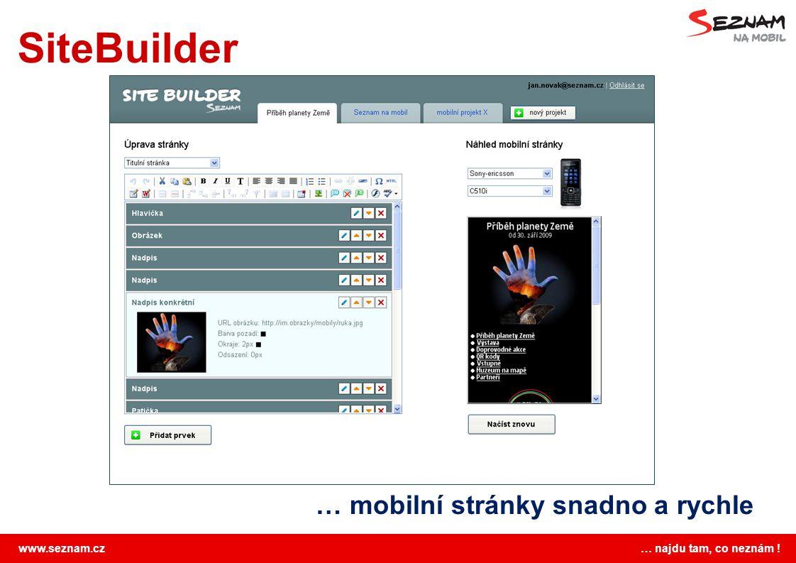 www.seznam.cz … najdu tam, co neznám ! SiteBuilder … mobilní stránky snadno a rychle