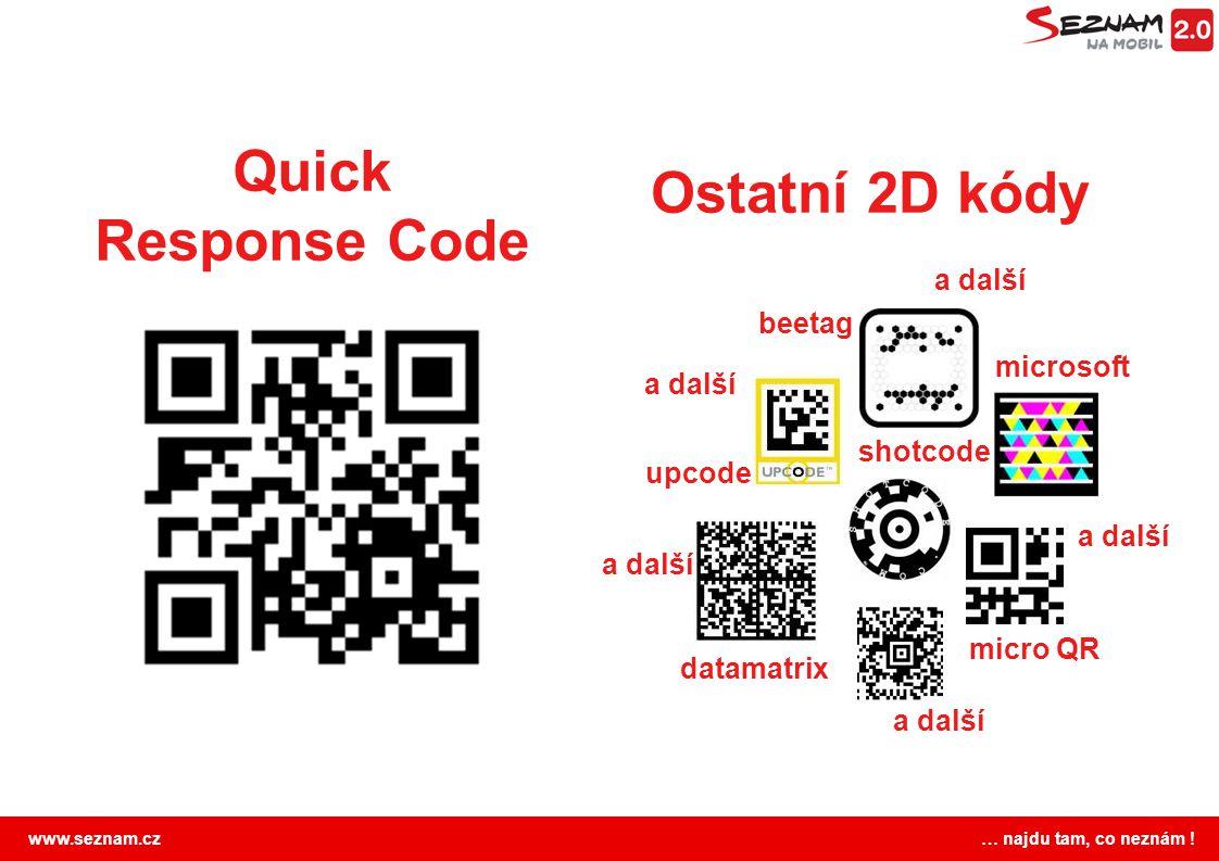 www.seznam.cz … najdu tam, co neznám ! Quick Response Code Ostatní 2D kódy micro QR microsoft datamatrix upcode beetag shotcode a další