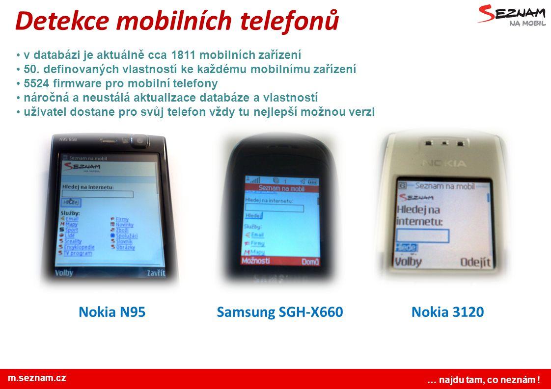 www.seznam.cz … najdu tam, co neznám ! Detekce mobilních telefonů v databázi je aktuálně cca 1811 mobilních zařízení 50. definovaných vlastností ke ka