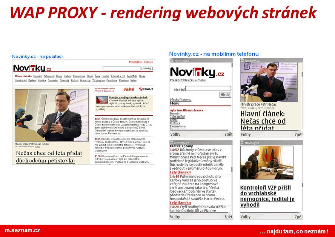 www.seznam.cz … najdu tam, co neznám ! WAP PROXY - rendering webových stránek … najdu tam, co neznám ! m.seznam.cz