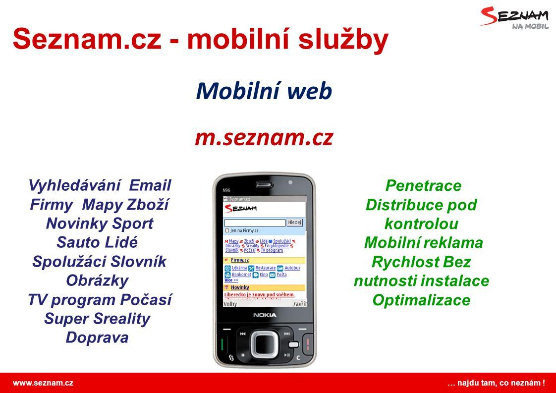 www.seznam.cz … najdu tam, co neznám ! Seznam.cz - mobilní služby m.seznam.cz Vyhledávání Email Firmy Mapy Zboží Novinky Sport Sauto Lidé Spolužáci Sl
