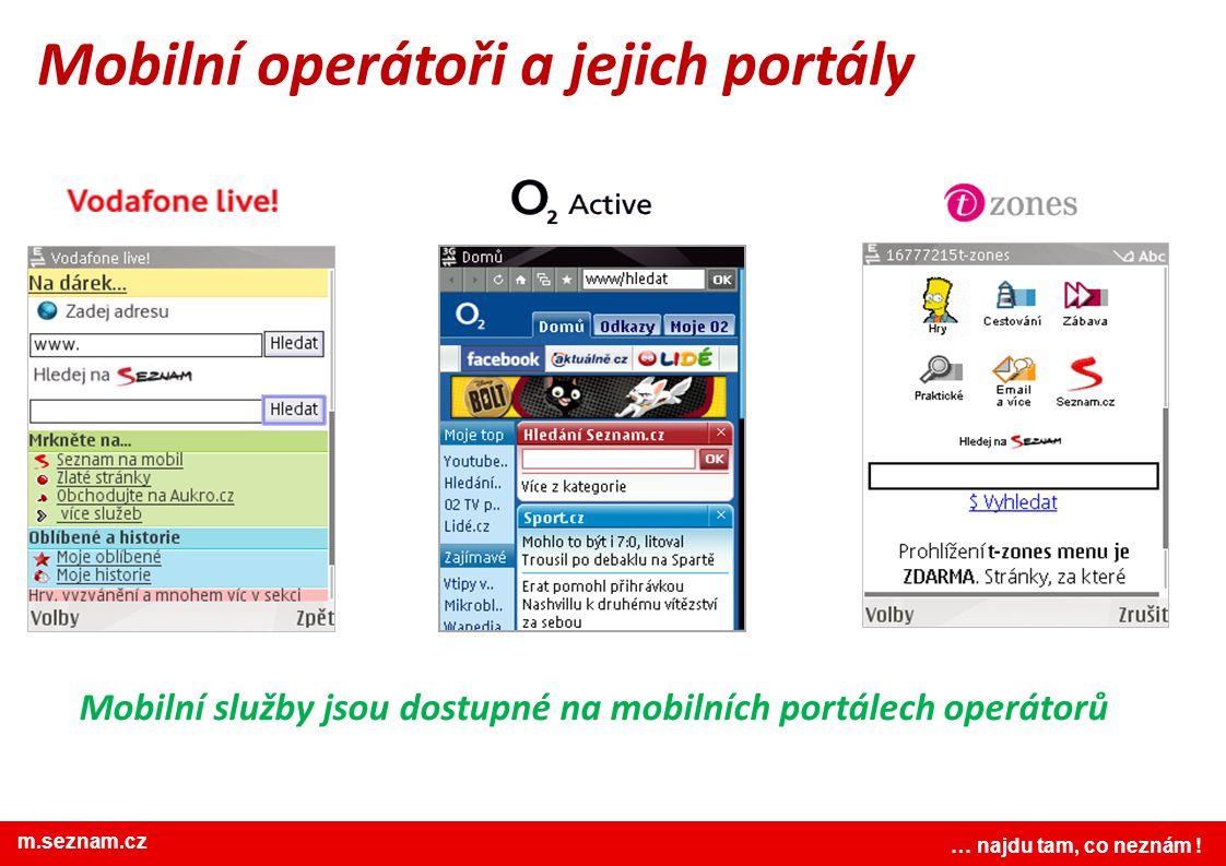 www.seznam.cz … najdu tam, co neznám ! Mobilní operátoři a jejich portály … najdu tam, co neznám ! m.seznam.cz Mobilní služby jsou dostupné na mobilní