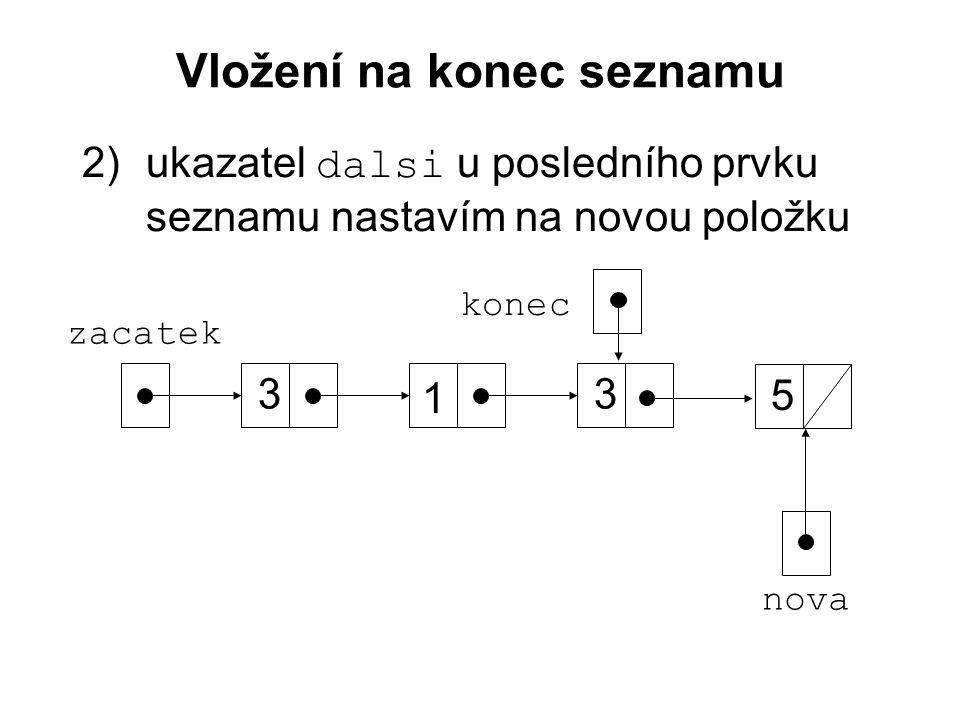 Vložení na konec seznamu 2)ukazatel dalsi u posledního prvku seznamu nastavím na novou položku zacatek 3 1 3 konec nova 5