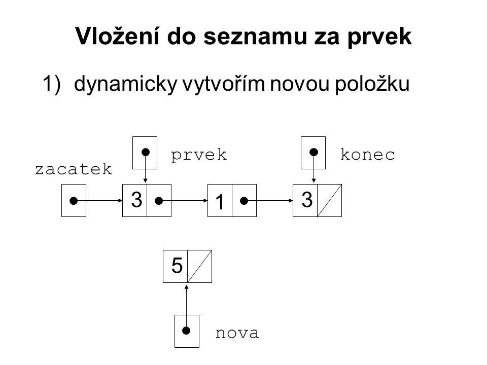 Vložení do seznamu za prvek 1)dynamicky vytvořím novou položku zacatek 3 1 3 konec nova 5 prvek