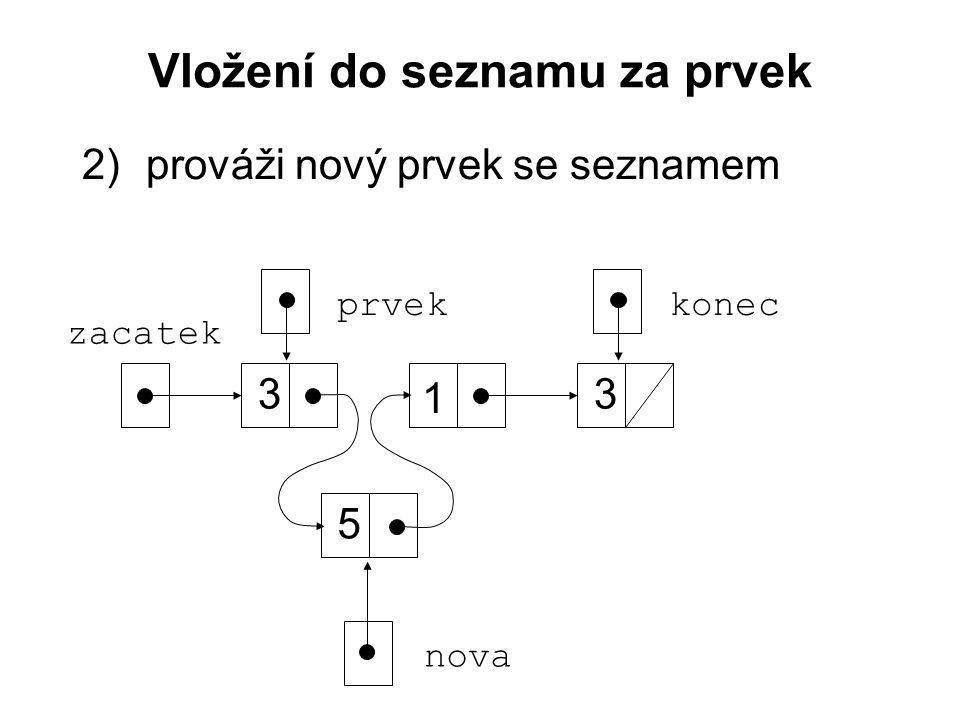 Vložení do seznamu za prvek 2)prováži nový prvek se seznamem zacatek 3 1 3 konec nova 5 prvek
