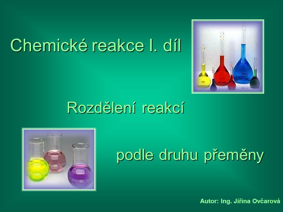 Autor: Ing. Jiřina Ovčarová Chemické reakce I. díl podle druhu přeměny Rozdělení reakcí