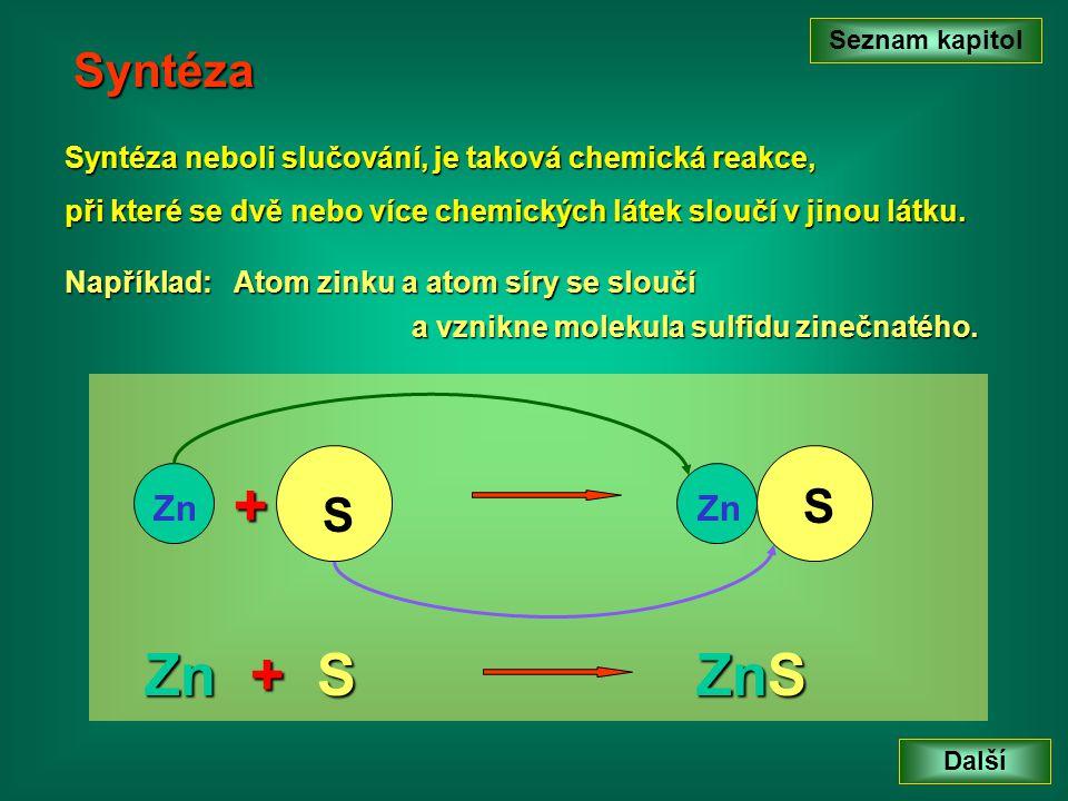 Syntéza Syntéza neboli slučování, je taková chemická reakce, při které se dvě nebo více chemických látek sloučí v jinou látku.