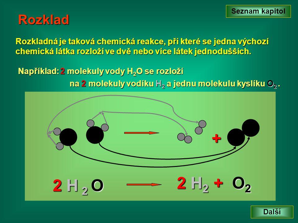 Rozklad Rozkladná je taková chemická reakce, při které se jedna výchozí chemická látka rozloží ve dvě nebo více látek jednodušších.