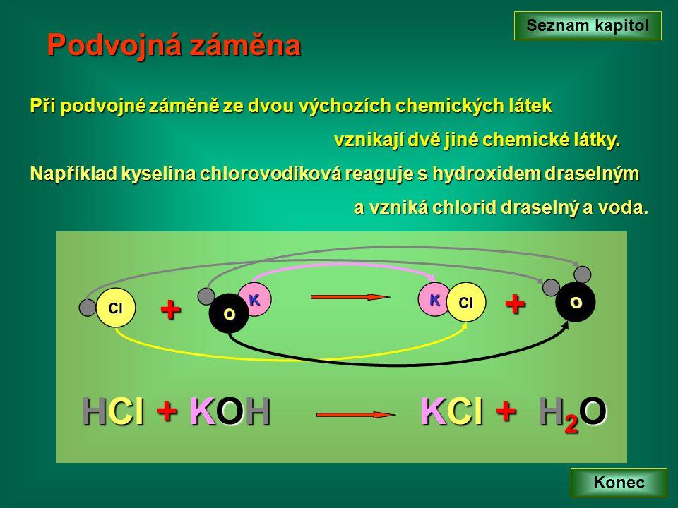 Podvojná záměna Při podvojné záměně ze dvou výchozích chemických látek vznikají dvě jiné chemické látky.
