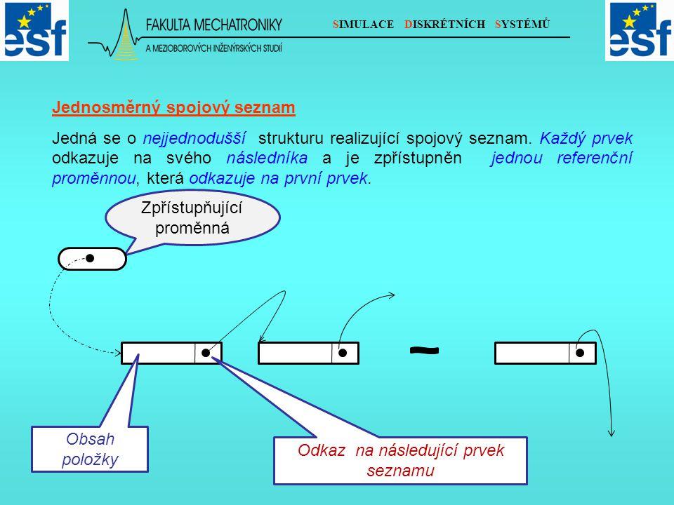 SIMULACE DISKRÉTNÍCH SYSTÉMŮ Jednosměrný spojový seznam Jedná se o nejjednodušší strukturu realizující spojový seznam.