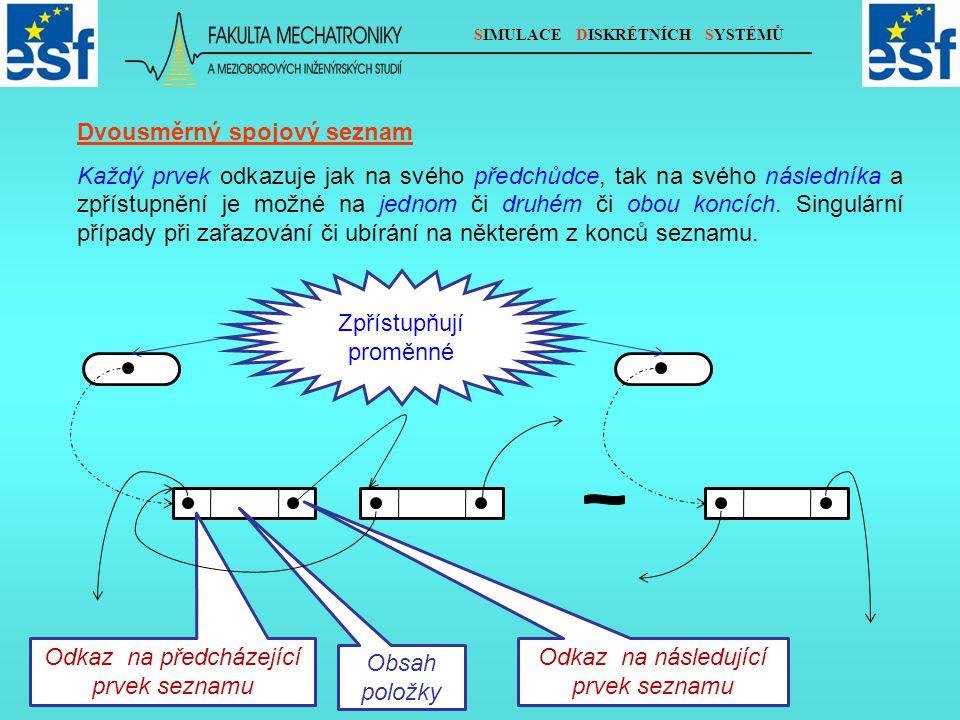 SIMULACE DISKRÉTNÍCH SYSTÉMŮ Dvousměrný spojový seznam Každý prvek odkazuje jak na svého předchůdce, tak na svého následníka a zpřístupnění je možné na jednom či druhém či obou koncích.