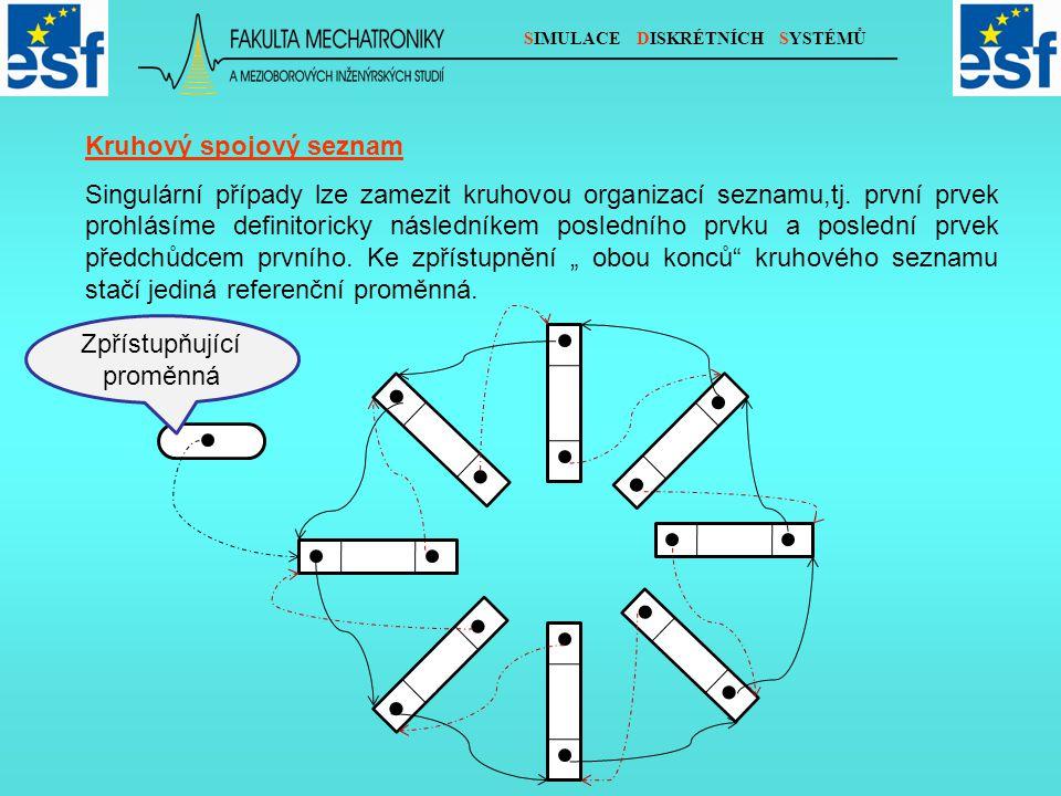 SIMULACE DISKRÉTNÍCH SYSTÉMŮ Kruhový spojový seznam Singulární případy lze zamezit kruhovou organizací seznamu,tj.
