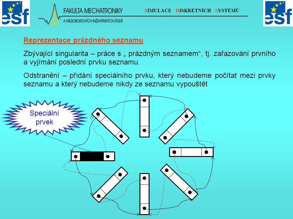 SIMULACE DISKRÉTNÍCH SYSTÉMŮ Prázdný seznam v tomto pojetí bude reprezentován seznamem (stále kruhovým) obsahující pouze zmíněný speciální prvek.