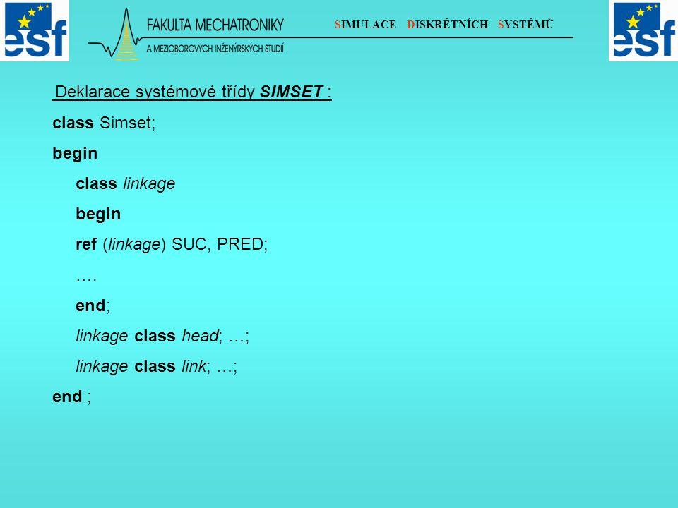 SIMULACE DISKRÉTNÍCH SYSTÉMŮ Deklarace systémové třídy SIMSET : class Simset; begin class linkage begin ref (linkage) SUC, PRED; ….